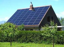 house with solar panels on its pitched roof