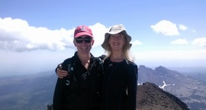 At the summit of South Sister, we feel elated. But we still have the second half of the hike ahead of us.